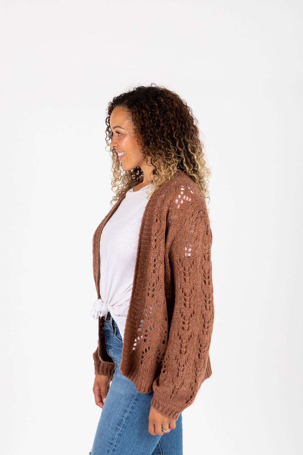 The Graff Knit Cardigan in Mocha, studio shot; front view
