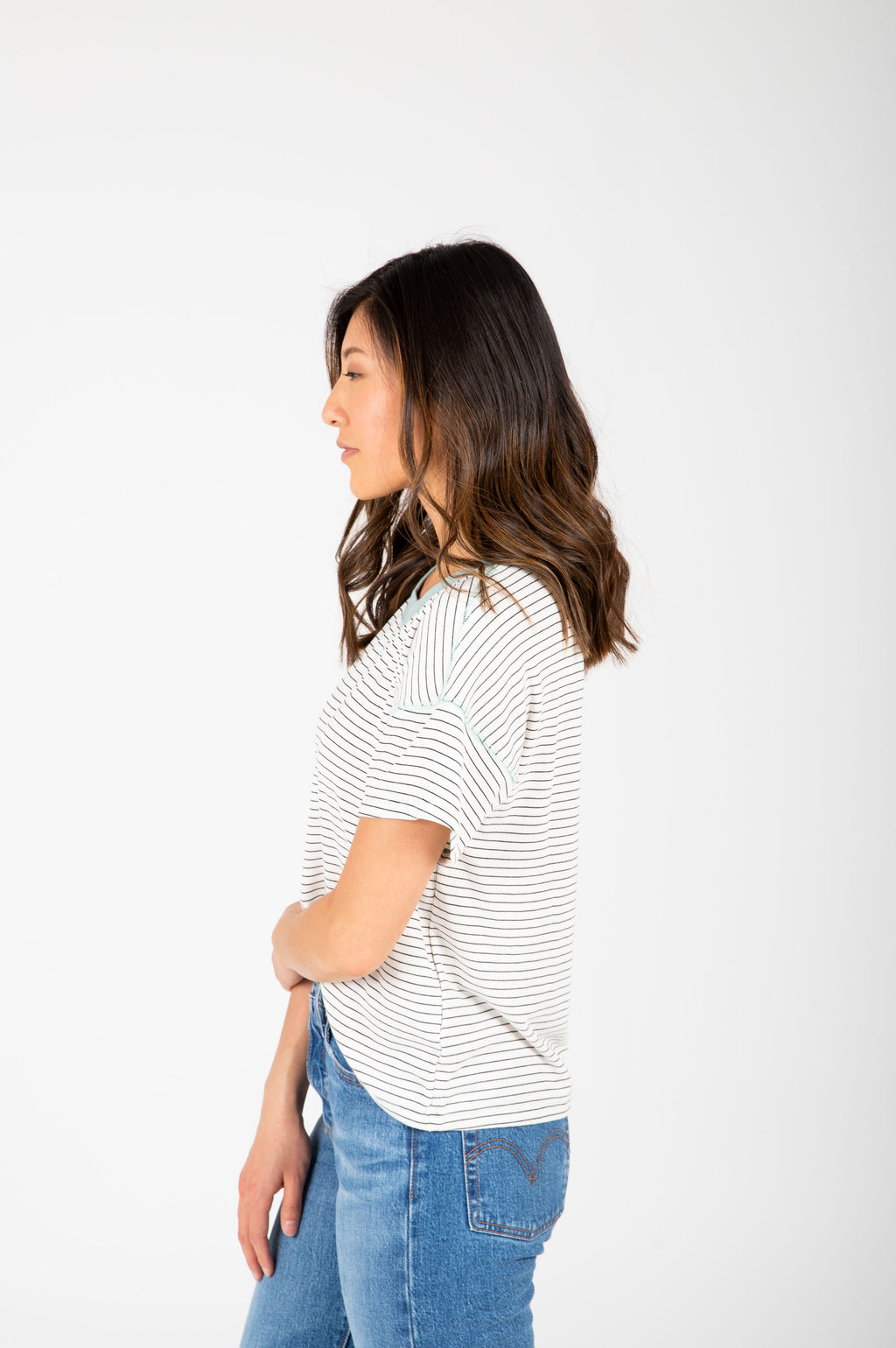 The Samara Striped Contrast Tee in White