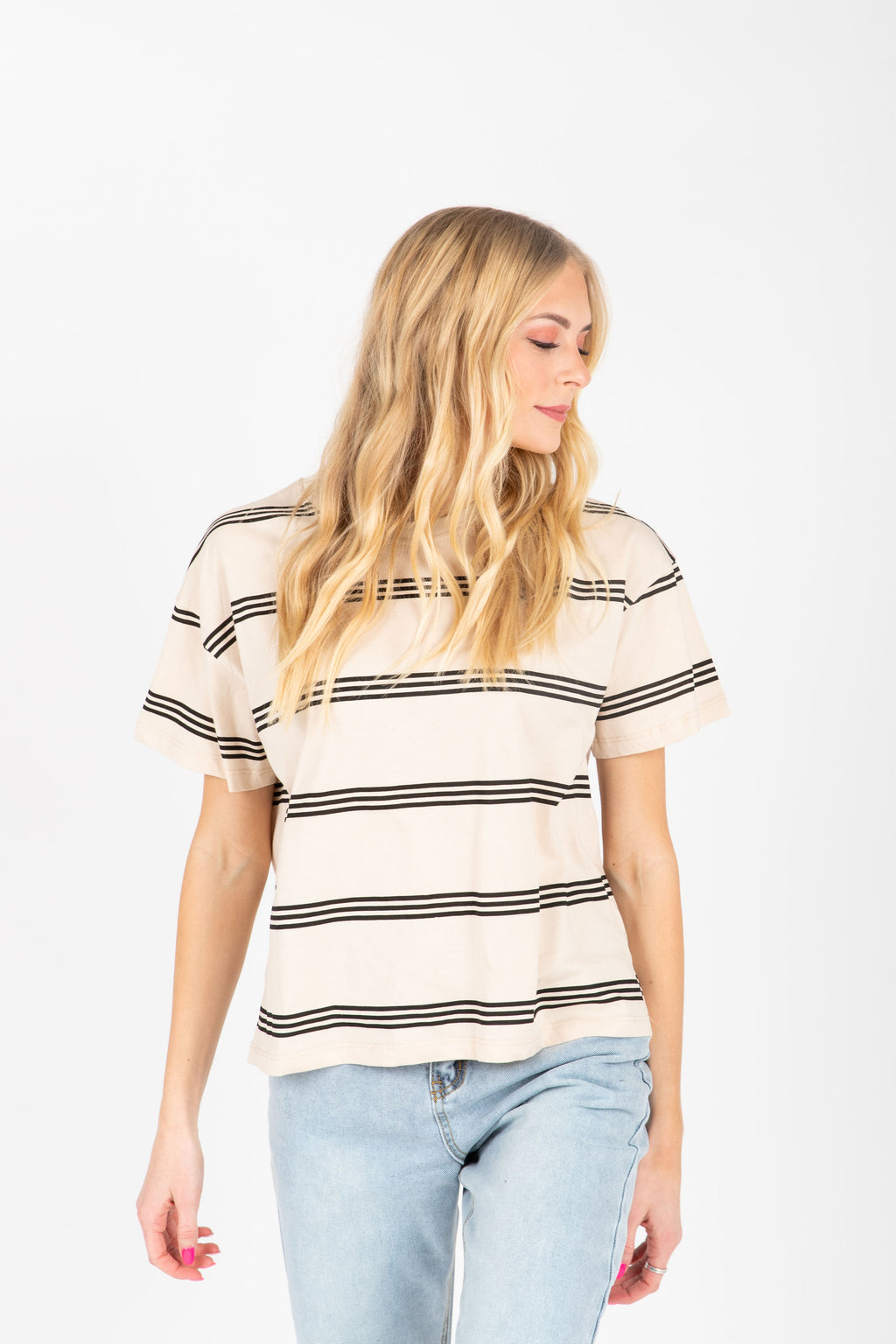 The Aiden Striped Tee in Beige, studio shoot; front view