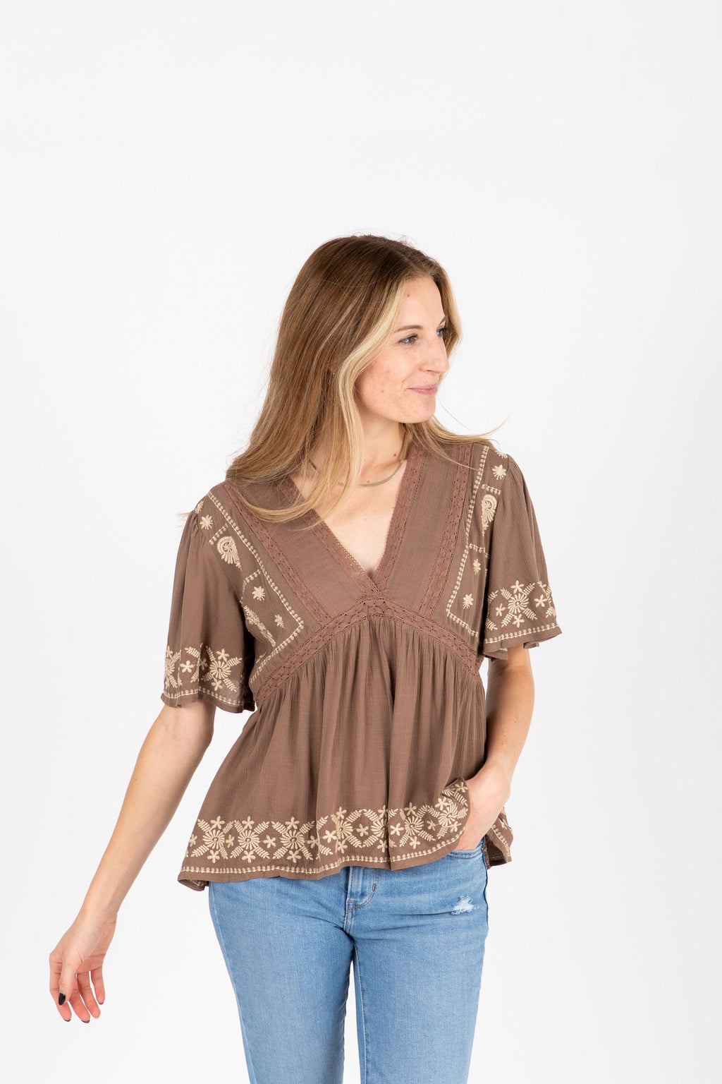 The Tempo Embroidered Blouse in Cocoa, studio shoot; front view