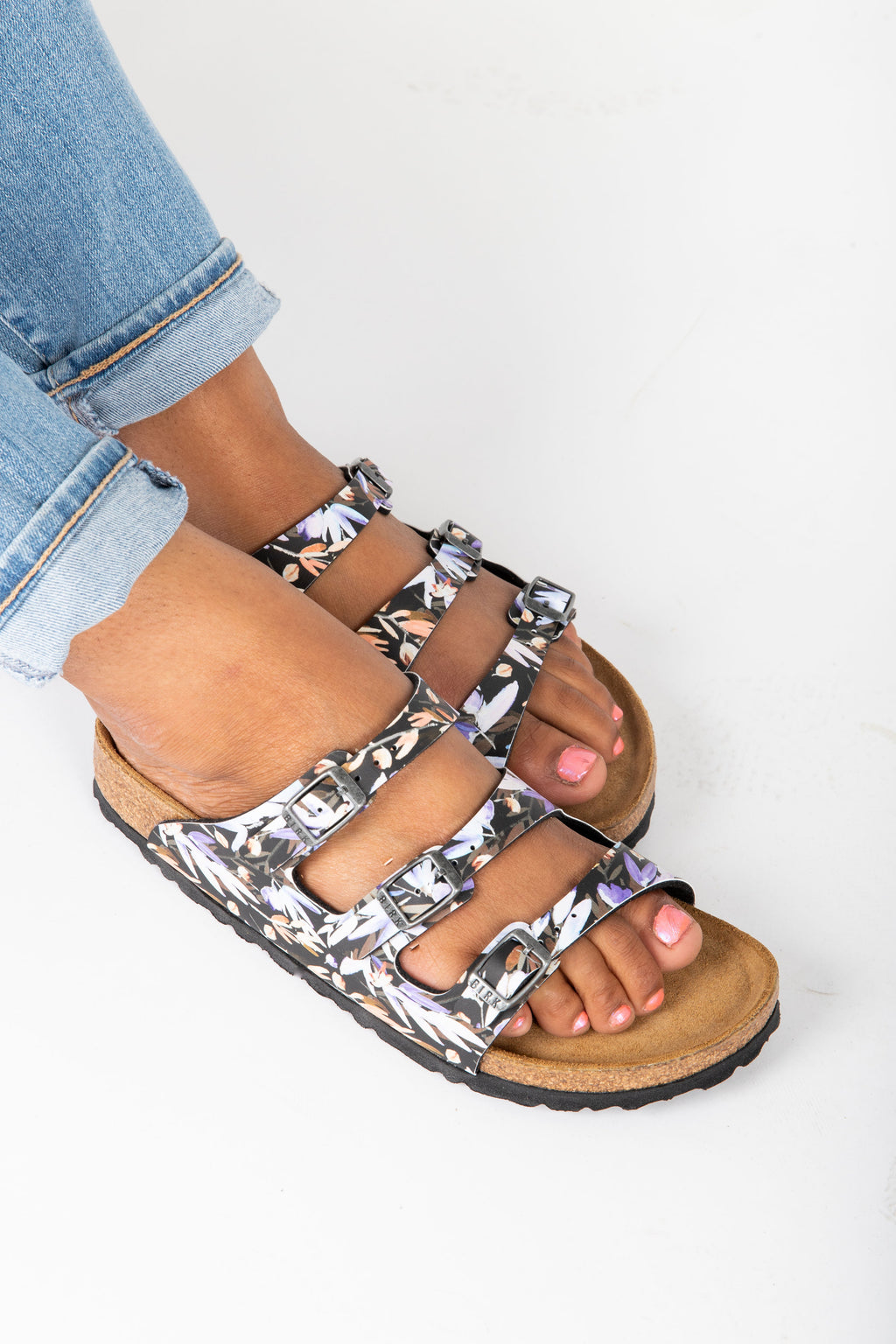 Birkenstock: Florida Fresh Soft Footbed in Floral Fades Black (Narrow Fit)