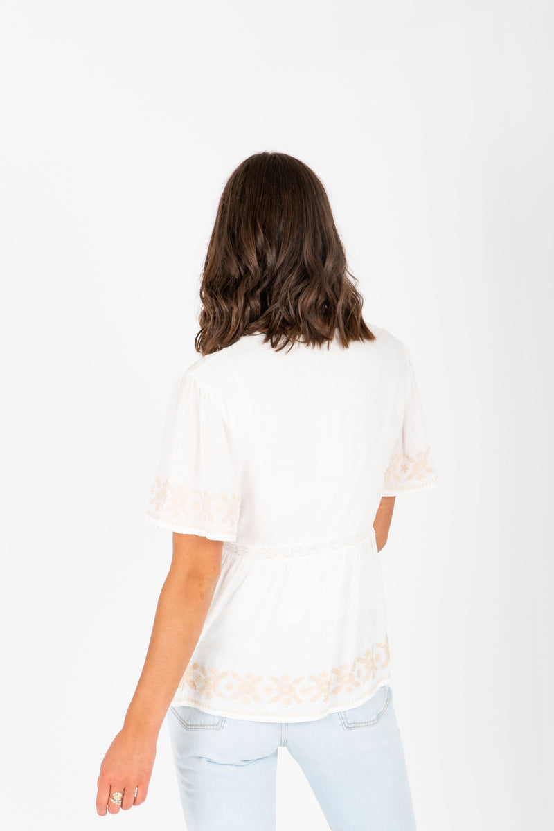 The Tempo Embroidered Blouse in White