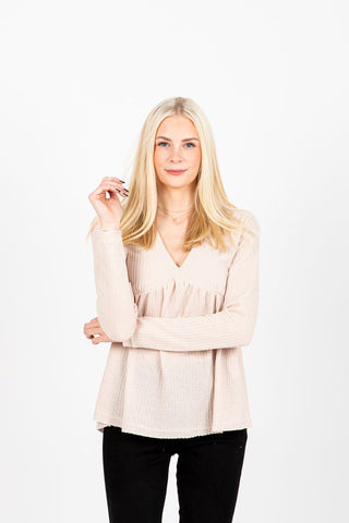 The Kiersten Contrast Peplum Blouse in Sand