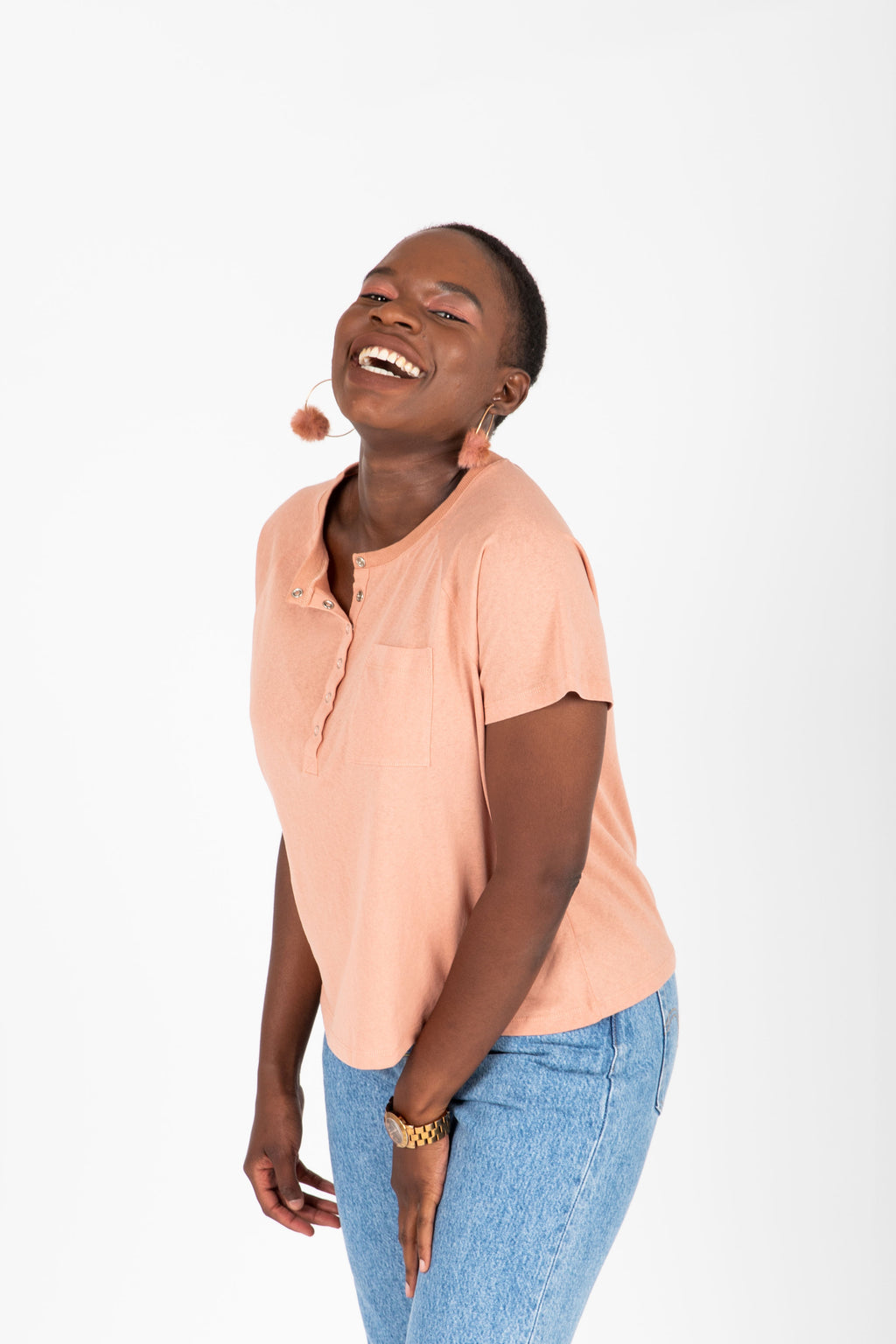 The Archer Casual Henley Tee in Blush, studio shoot; front view