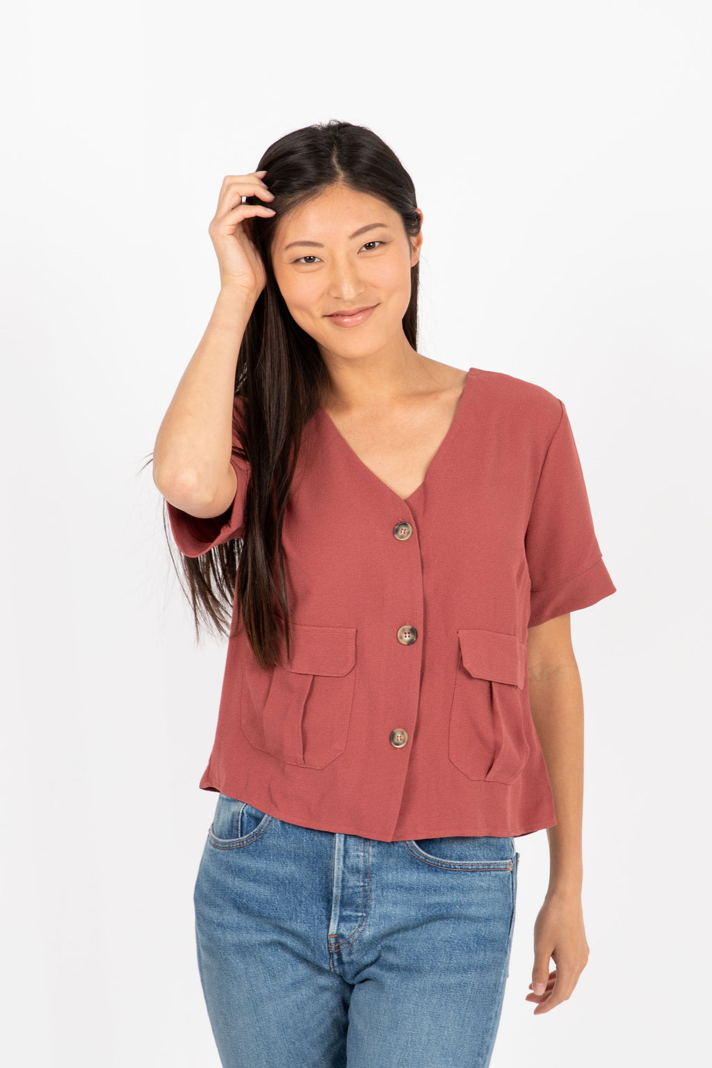 The Roaring Button Up Blouse in Brick- studio shoot; front view