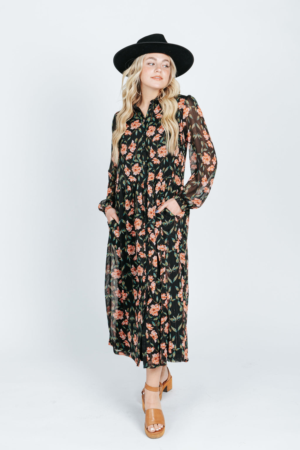 The Chasing the Sun Shift Maxi Dress in Pink Floral, studio shoot; front view