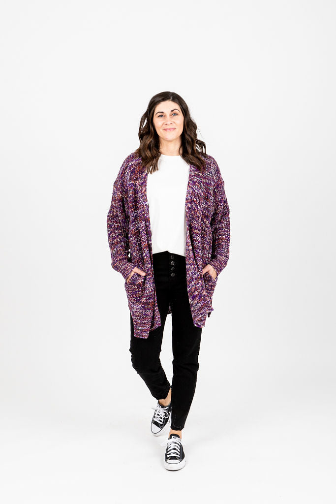 The Petunia Knit Cardigan in Plum Mix, studio shoot; front view