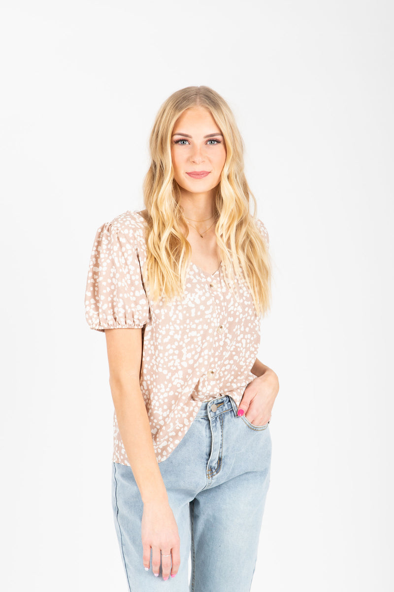The Alayna Patterned Button Blouse in Natural, studio shoot; front view
