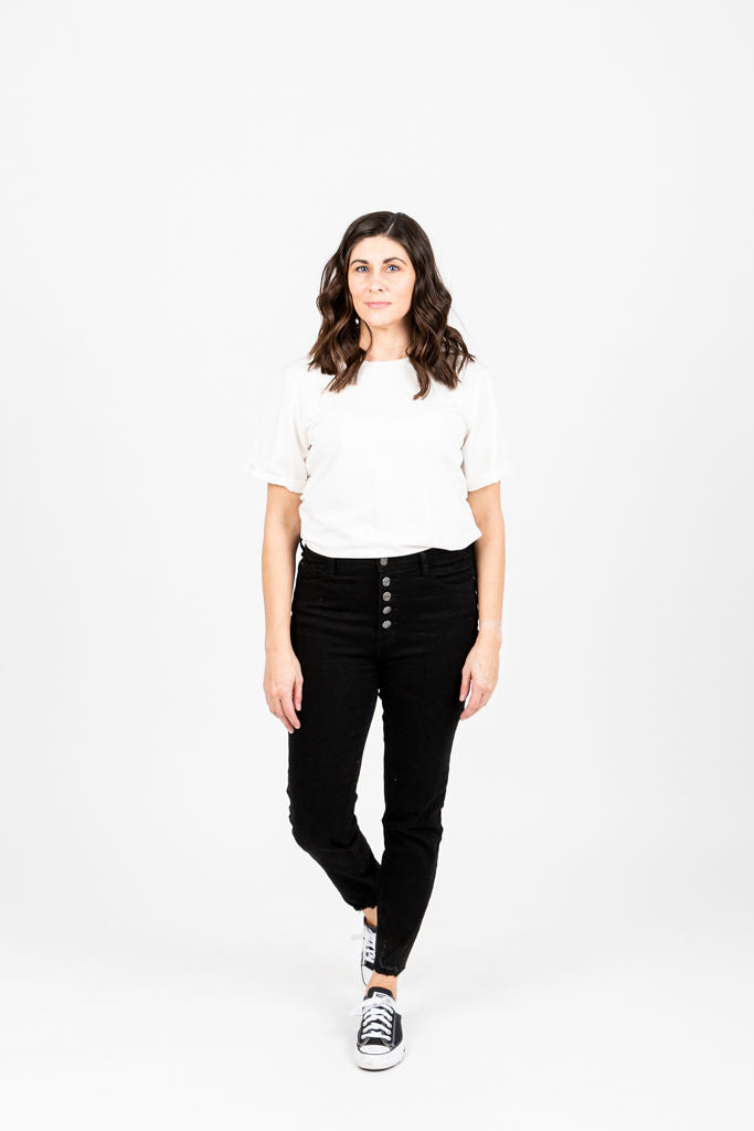 The Blanchett High Rise Skinny Button Jeans in Black