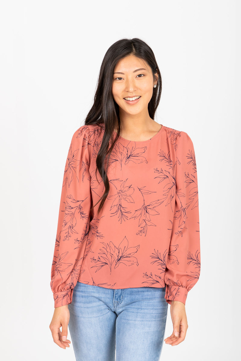 The Prism Floral Blouse in Mauve