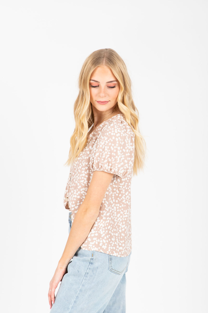 The Alayna Patterned Button Blouse in Natural, studio shoot; side view