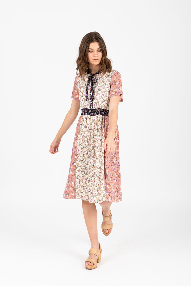 The Ravishing Neck Tie Floral Dress in Rose