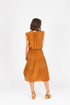 The Valko Ruffle Dress in Camel, studio shoot; back view