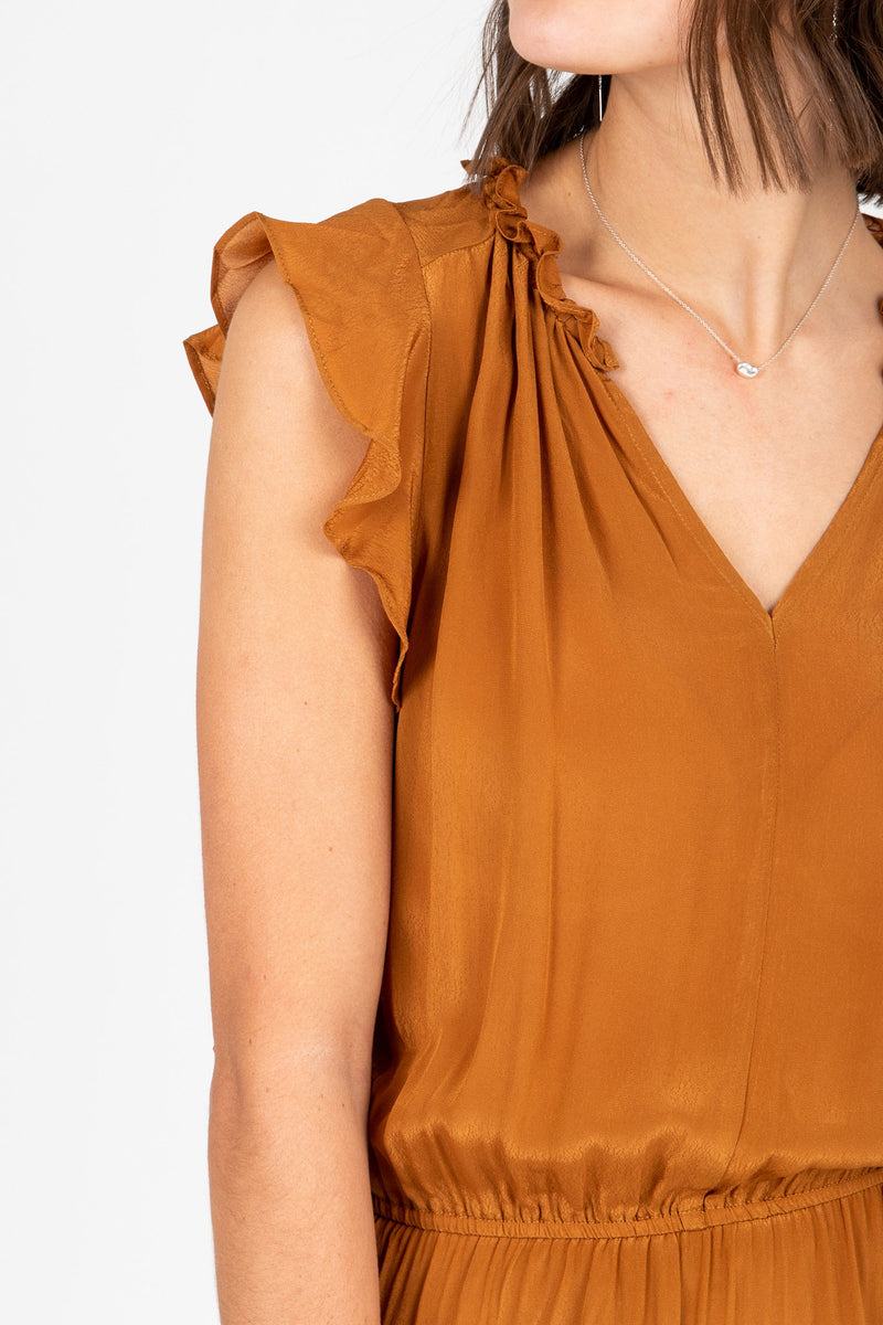 The Valko Ruffle Dress in Camel, studio shoot; front view