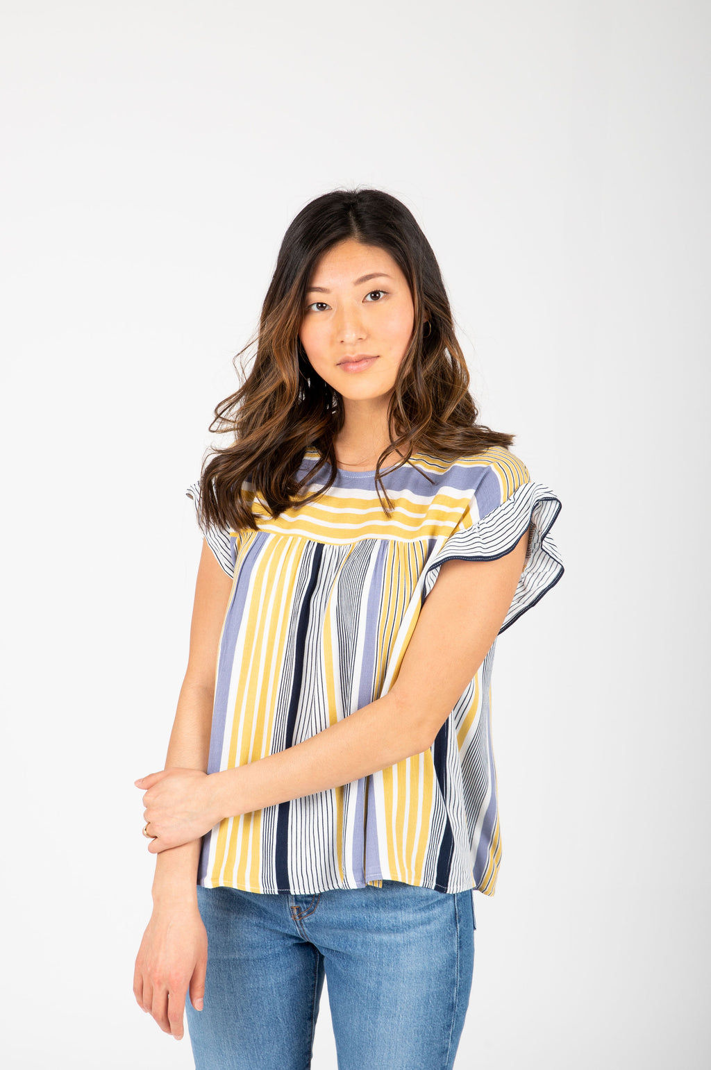 The Leila Striped Empire Blouse in Blue