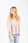 The Rina Striped Long Tee in Camel