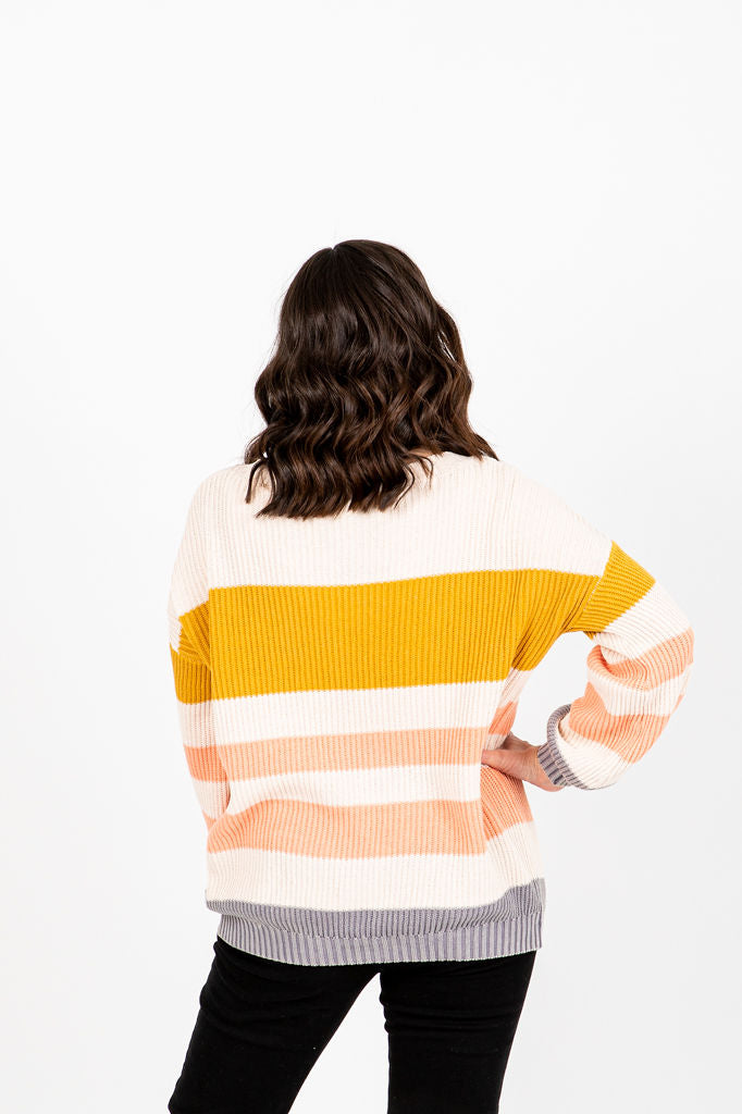 The Lurtz Ribbed Knit Sweater in Mustard, studio shoot; back view