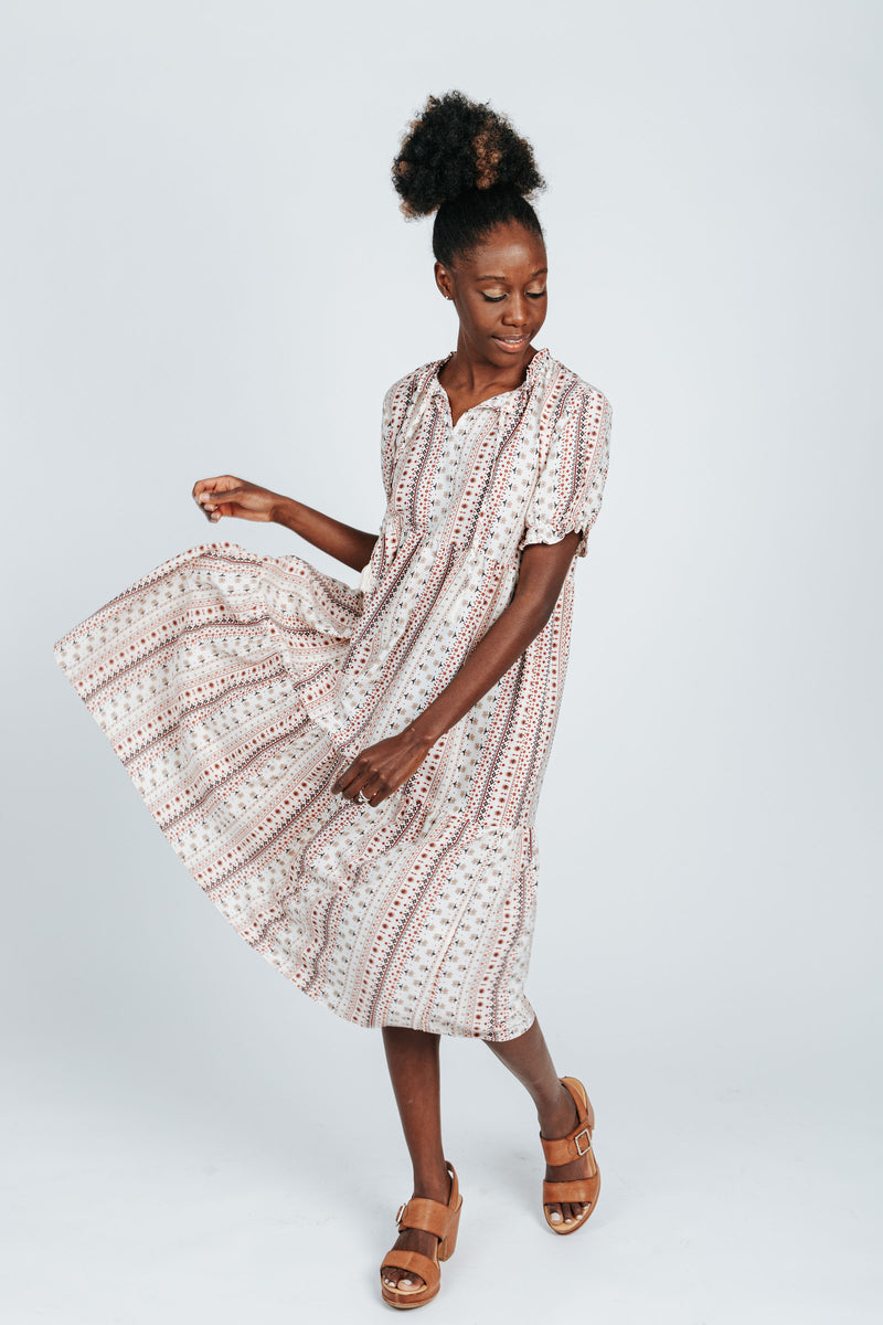 The Carter Patterned Dress in Ivory, studio shoot; front view
