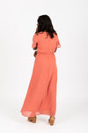 The Soleil Pleated Maxi Dress in Rouge