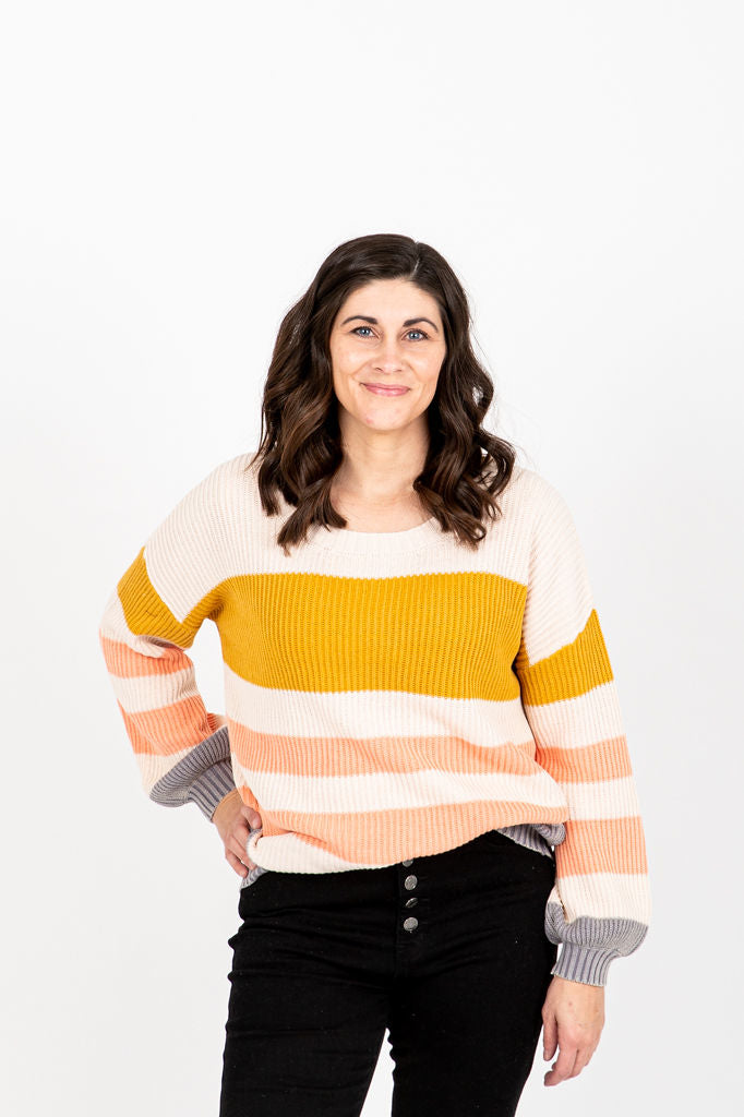 The Lurtz Ribbed Knit Sweater in Mustard, studio shoot; front view