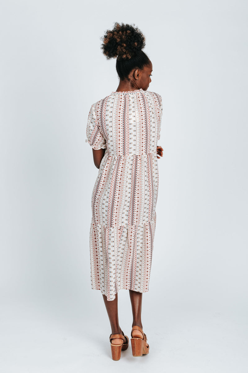 The Carter Patterned Dress in Ivory, studio shoot; back view