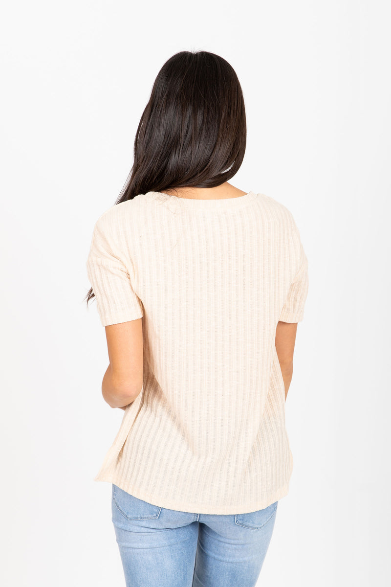 The Dinah Ribbed Blouse in Cream