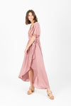 The Parklan Embroidered Wrap Dress in Mauve