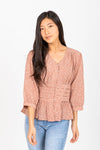 The Bensen Striped Button Up Blouse in Blue + Camel