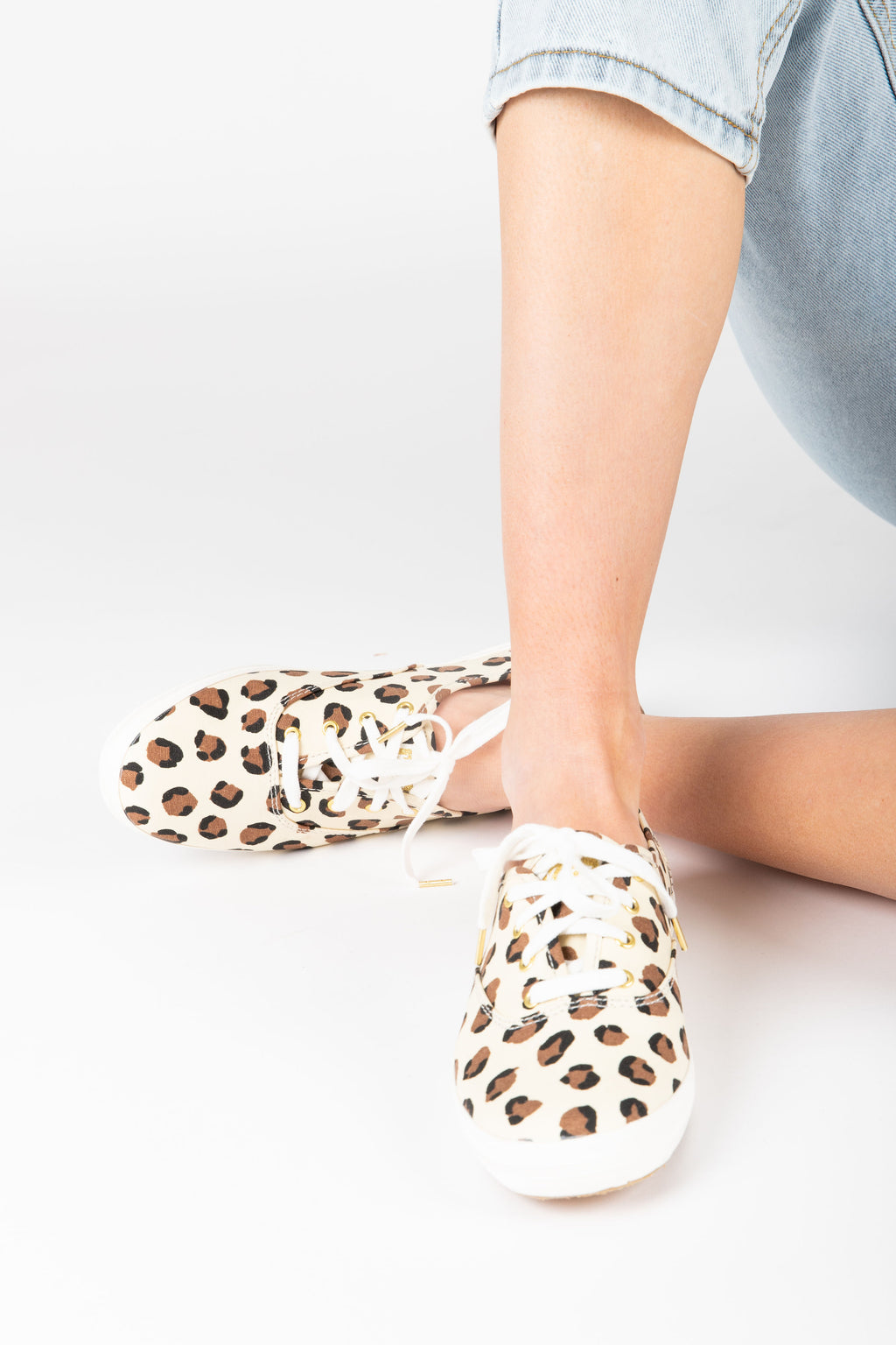 Keds: Women's Champion Sneaker in Leopard, studio shoot; front view