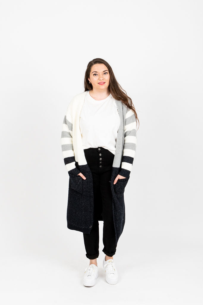 The Frodo Striped Colorblock Cardigan in Grey