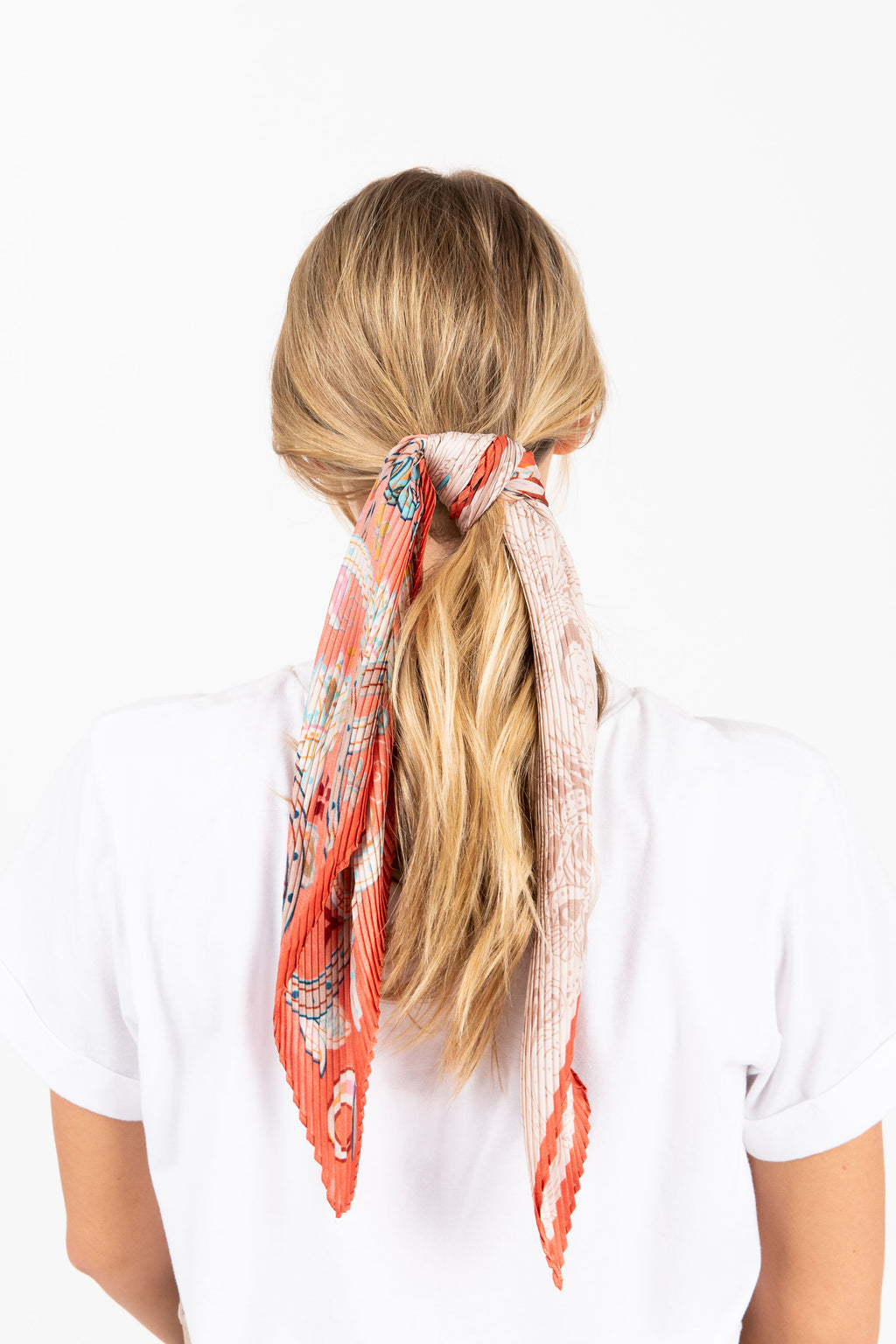 Paisley Floral Pleats Silk Bandana in Orange