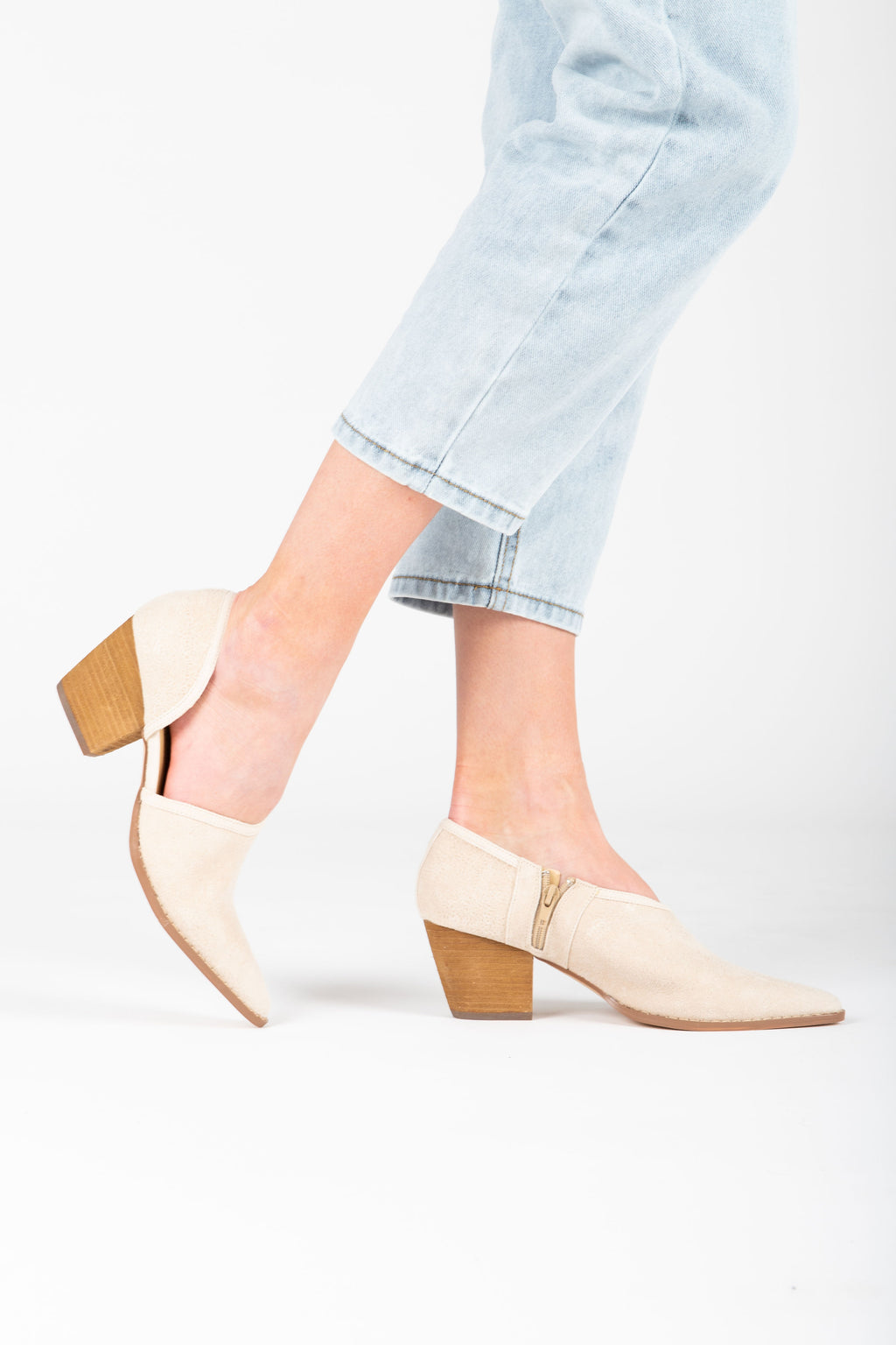 Coconuts by Matisse: Ginger Ankle Mule in Ivory, studio shoot; side view