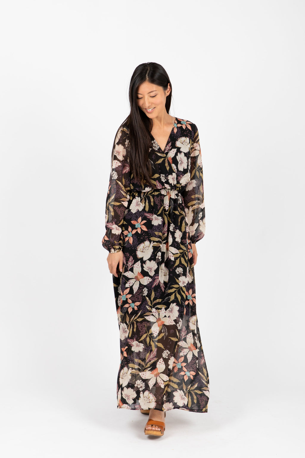 The Major Floral Wrap Maxi Dress in Black, studio shoot; front view