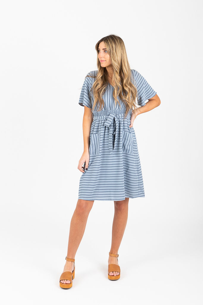 The Erica Striped Pocket Dress in Dusty Blue