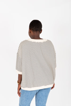 The Caden Striped Crew Neck Top in Oatmeal