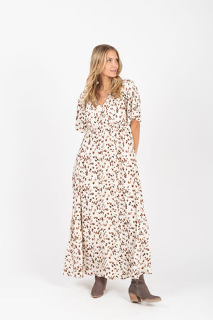 The Mighty Leopard Maxi Dress in Ivory, studio shoot; front view
