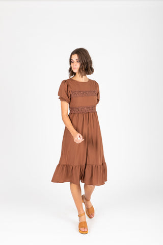 The Valko Ruffle Dress in Camel
