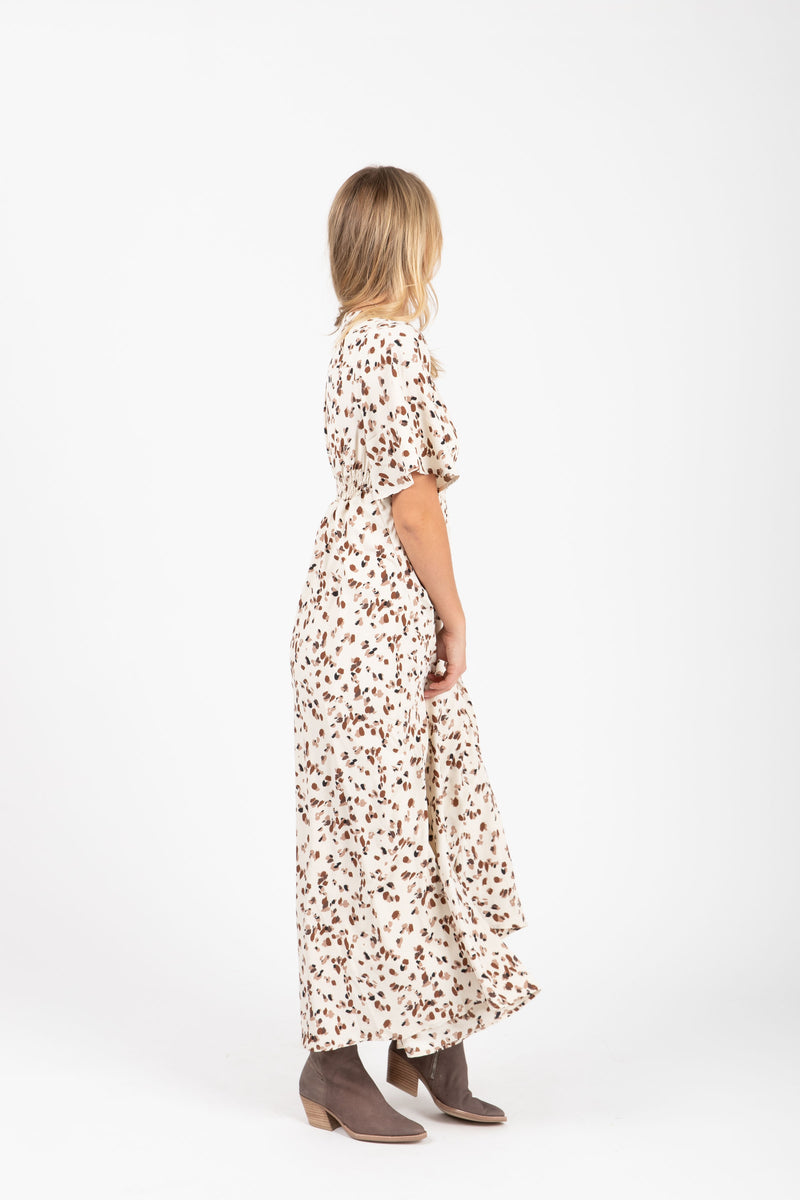 The Mighty Leopard Maxi Dress in Ivory, studio shoot; side view