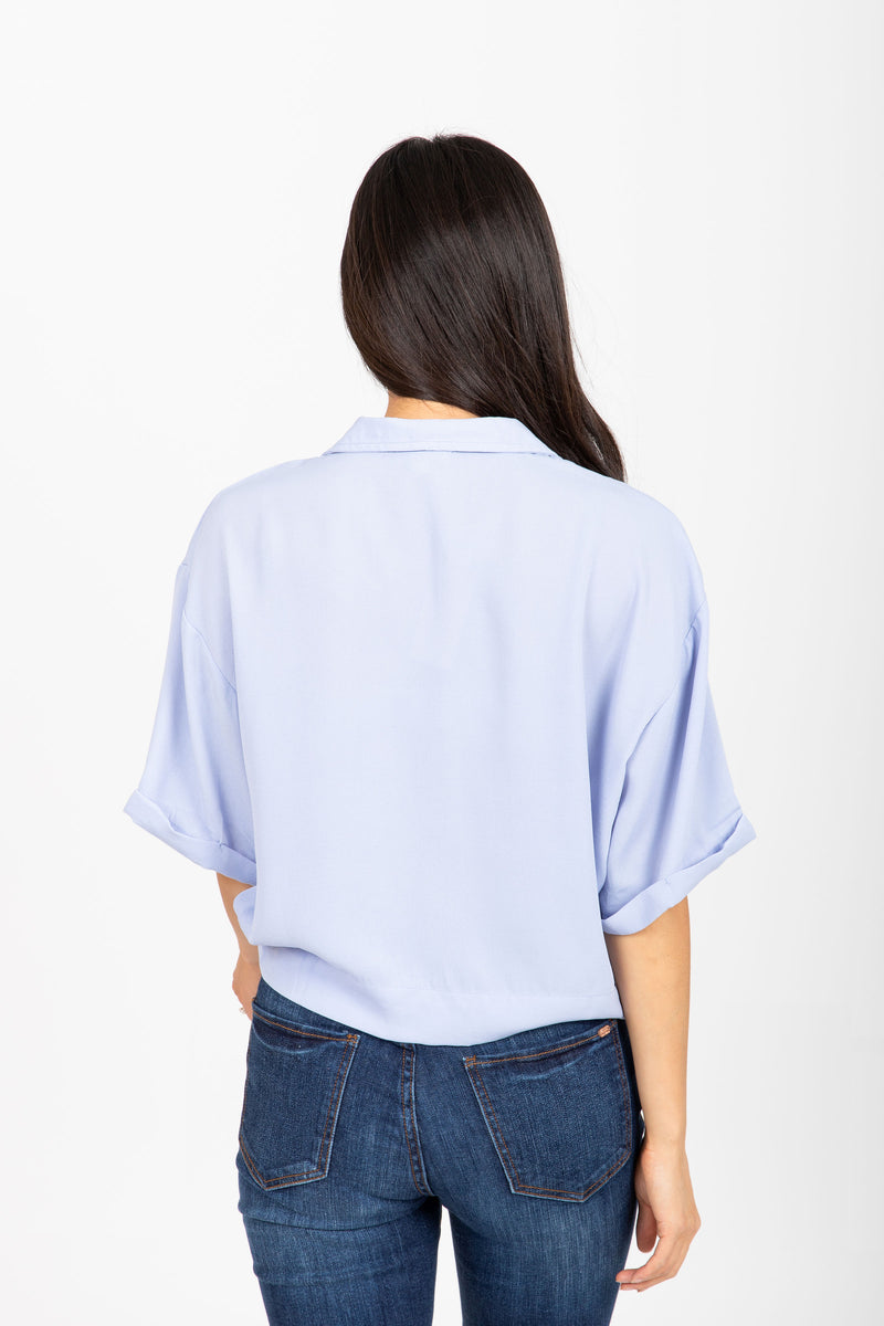 The Glider Button Blouse in Periwinkle
