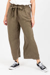 The Gleeson Belted Casual Trouser in Olive, studio shoot; front view