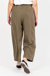 The Gleeson Belted Casual Trouser in Olive, studio shoot;  back view