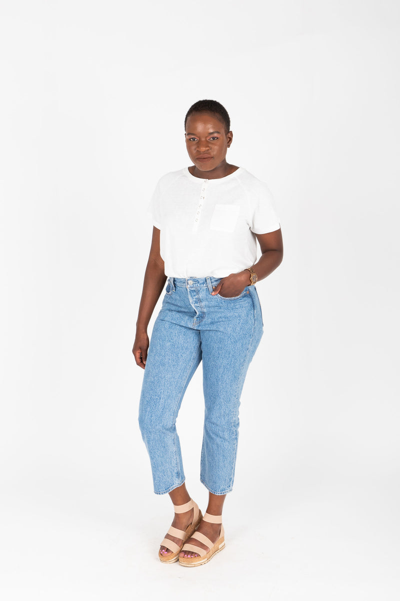 Levi's: Wedgie Fit Straight Jeans in Luxor Lanes Medium Wash, studio shoot; front view