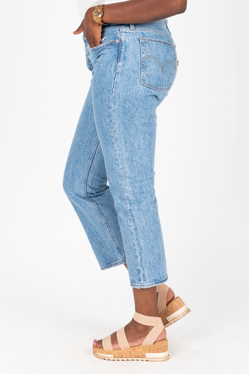 Levi's: Wedgie Fit Straight Jeans in Luxor Lanes Medium Wash, studio shoot; side view