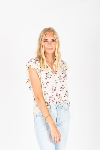 The Etta Floral Ruffle Blouse in Natural