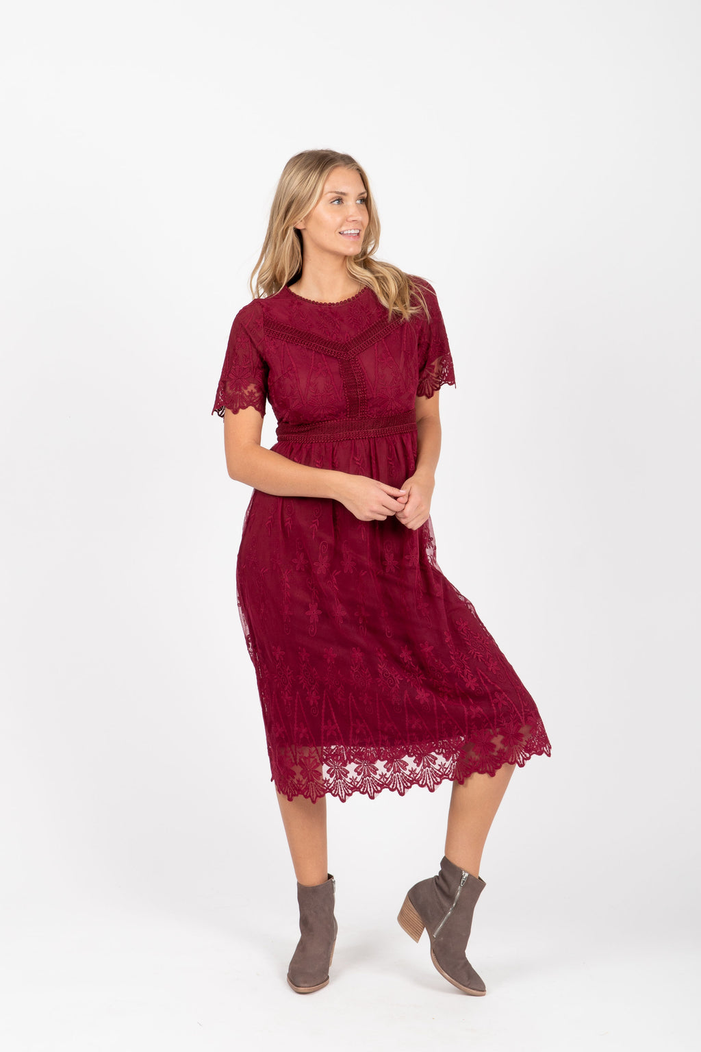 The Simon Lace Midi Dress in Plum, studio shoot; front view