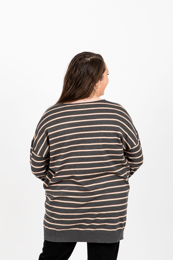 The Pippin Striped Casual Knit in Slate, studio shoot; back view