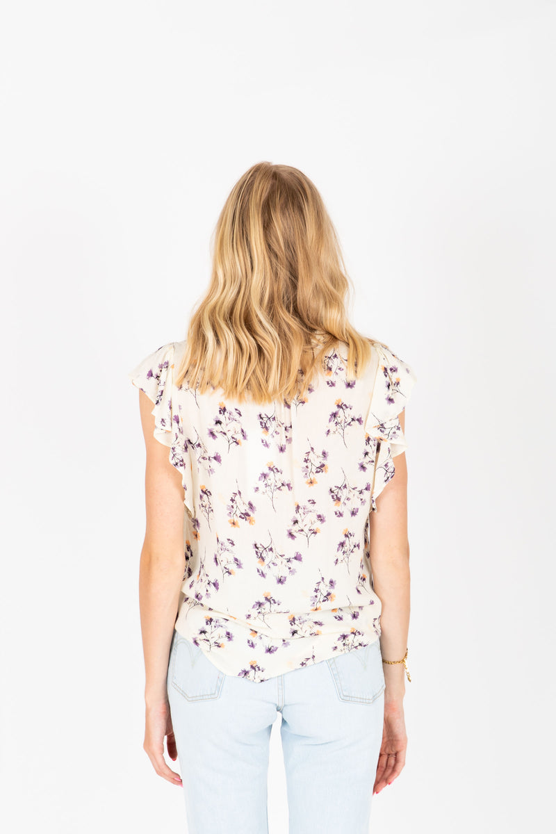The Dante Delicate Floral Blouse in Ivory, studio shoot; back view