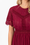 The Simon Lace Midi Dress in Plum, studio shoot; closer up front view