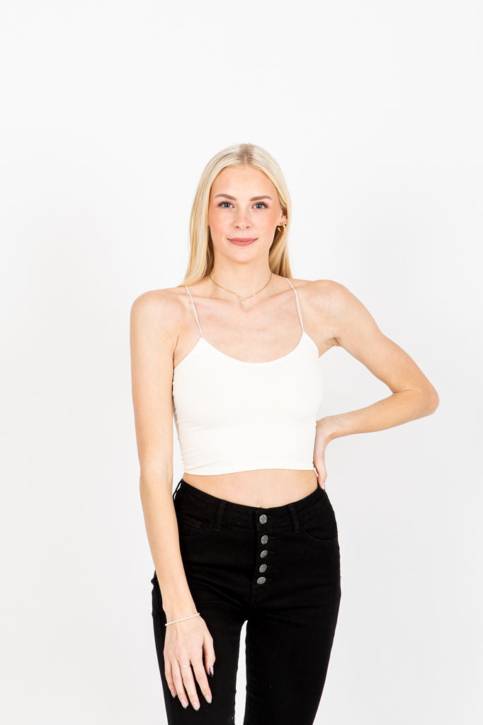 The Fran Basic Crop Tank in Cream, studio shoot; front view