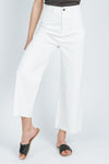 The Colten Wide Leg Denim Pant in White, studio shoot; front view
